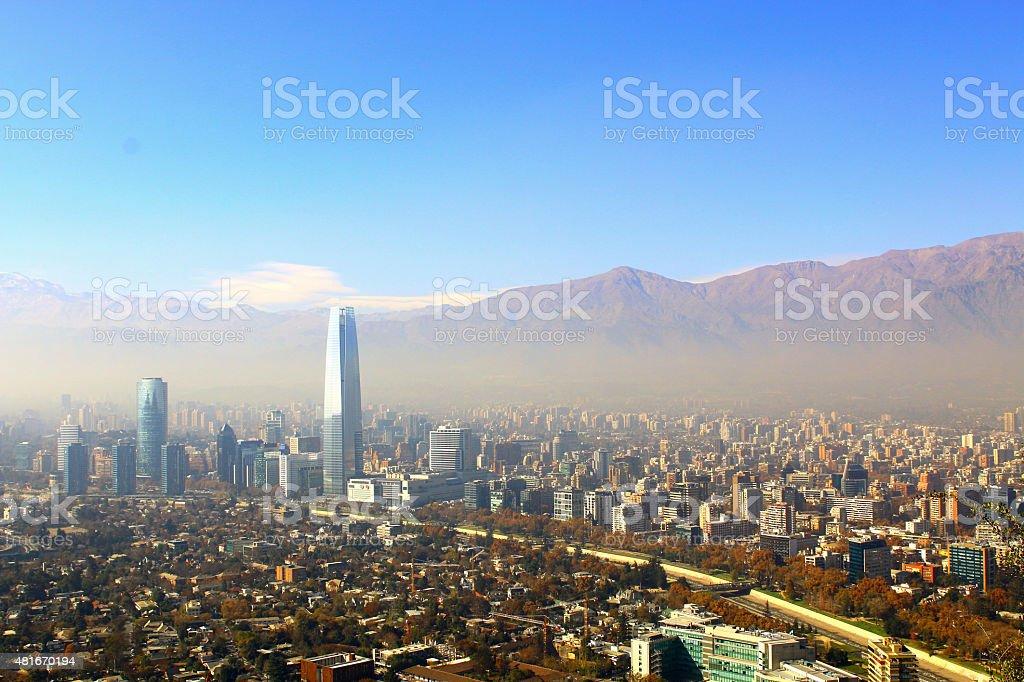 Santiago, chile. View from Cerro San Cristobal. stock photo