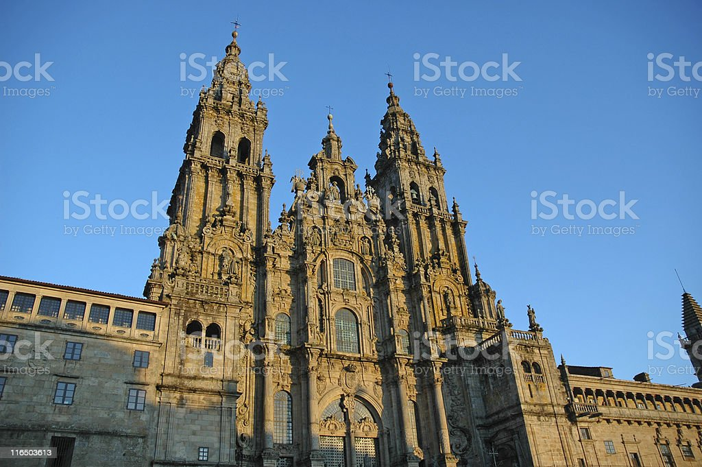 Santiago de Compostela Cathedral at dusk stock photo