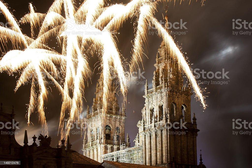 Santiago de Compostela cathedral under fireworks stock photo