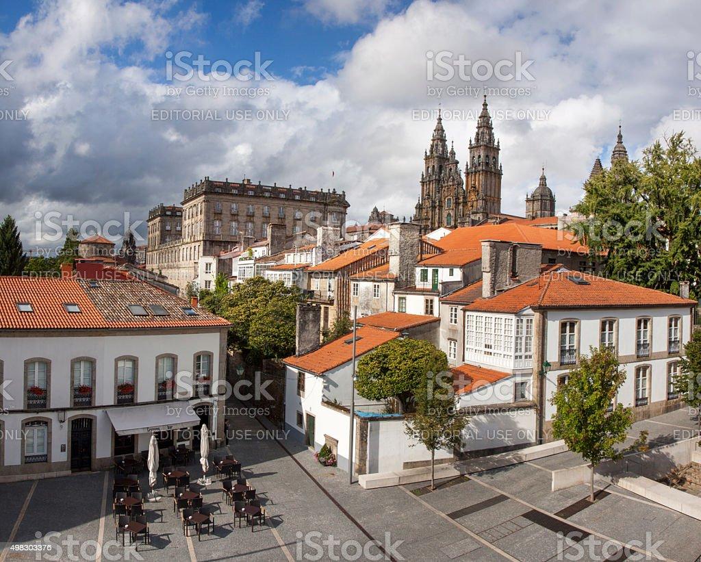 Santiago de Compostela with St James cathedral stock photo