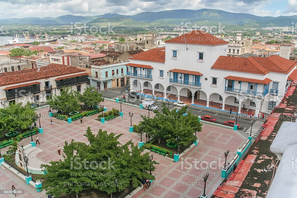 Santiago de Cuba City Hall and Parque Cespedes stock photo