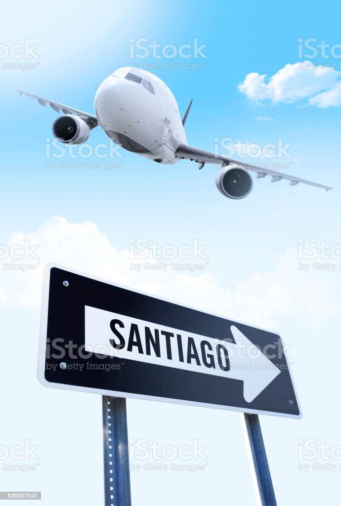 Santiago flight stock photo
