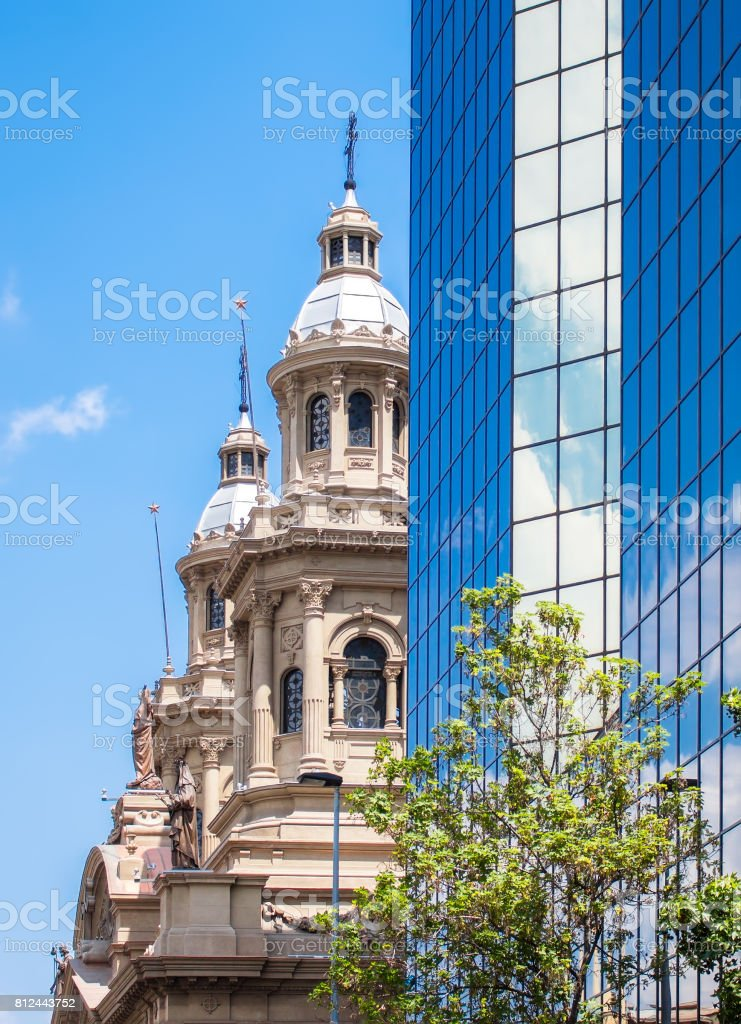 Santiago Metropolitan Cathedral seeing behind the modern building stock photo