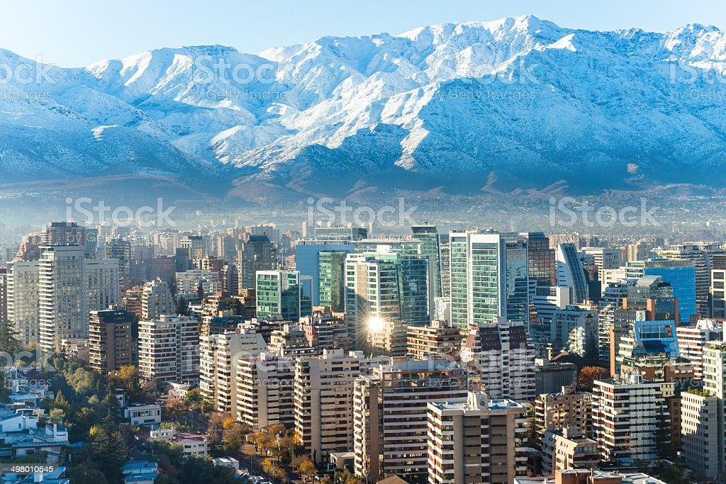 Santiago whhite cityscape stock photo