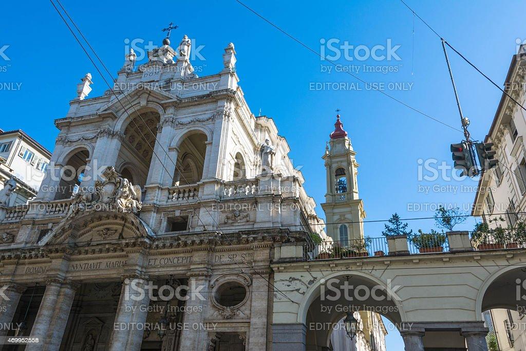 Santissima Annunziata Church in Turin, Italy stock photo