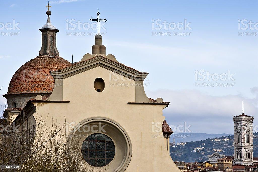 Santo Spirito Church Facade and Campanile, Firenze in Italy stock photo