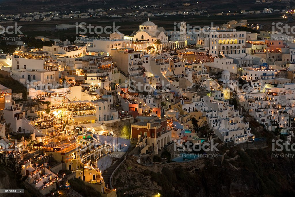 Santorini at Night. People in the Restaurants. royalty-free stock photo