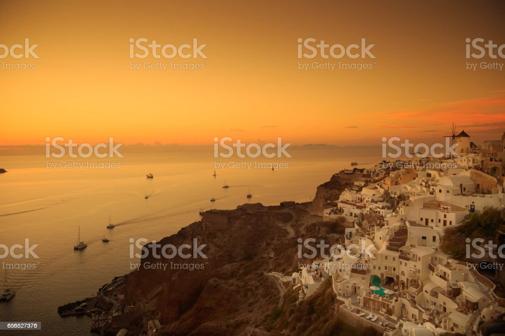 Santorini at sunset stock photo