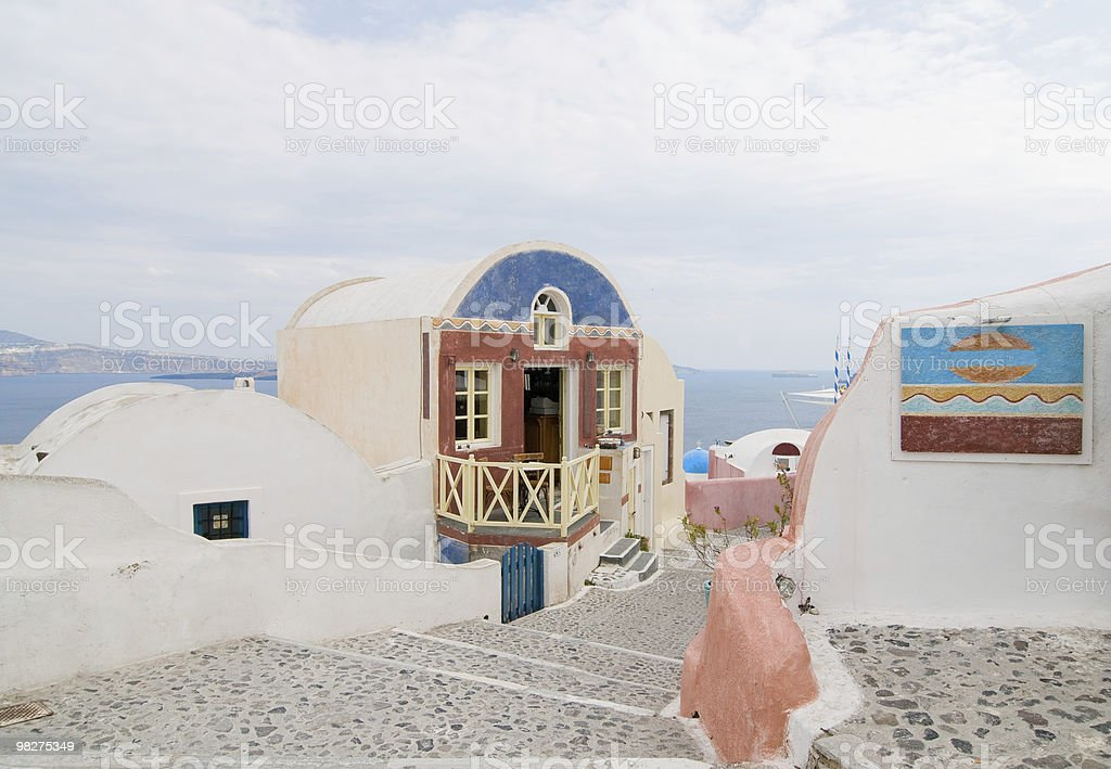 Santorini beautiful buildings stock photo