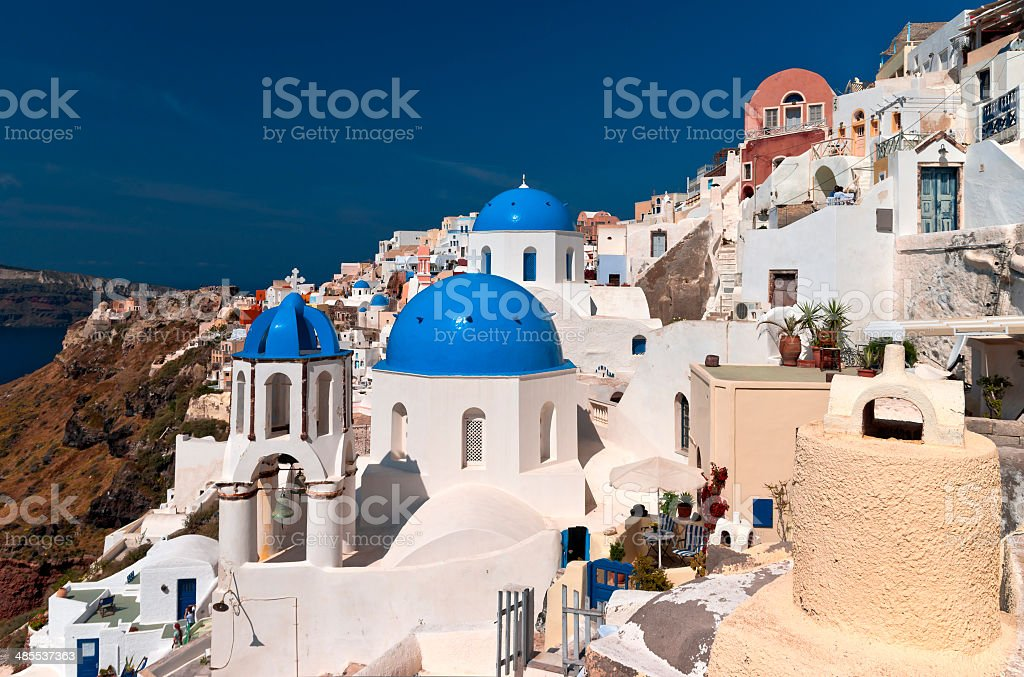 Santorini blue cupola church stock photo