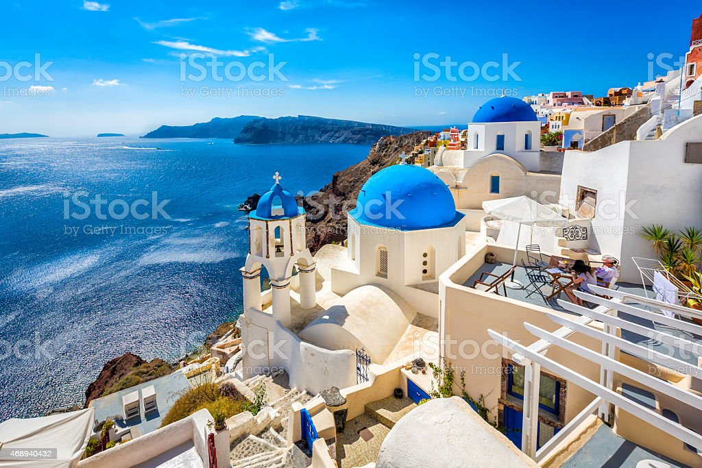 Santorini blue dome churches, Greece stock photo