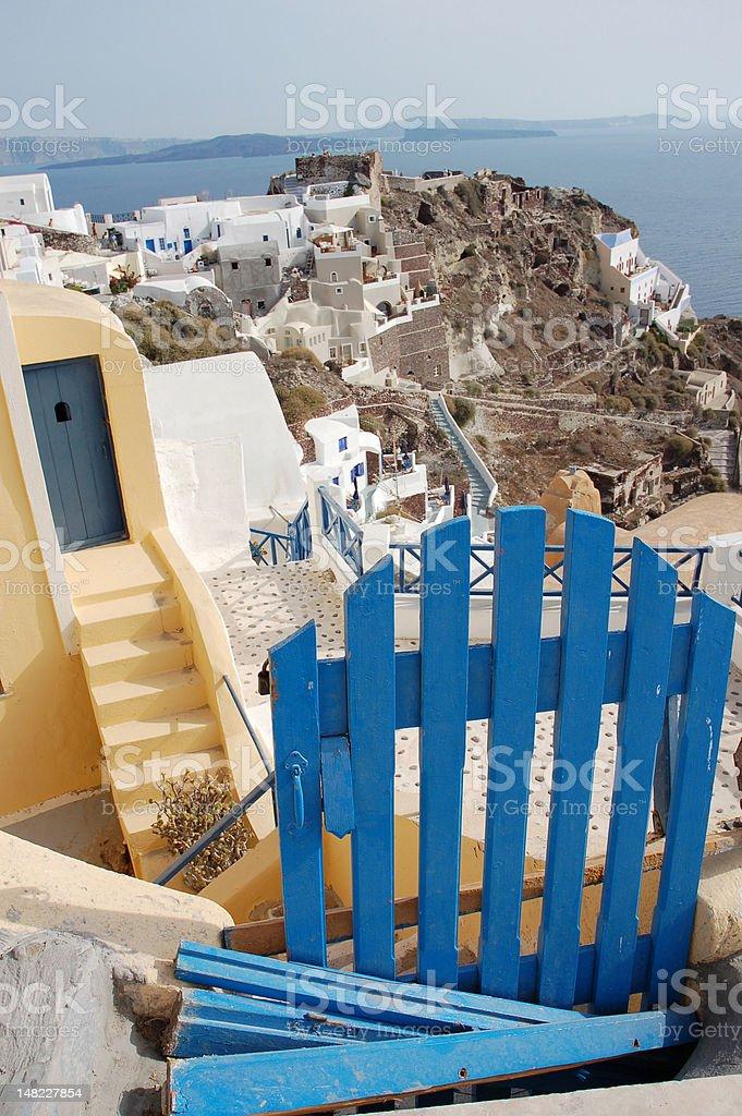 Santorini Blue Gate royalty-free stock photo