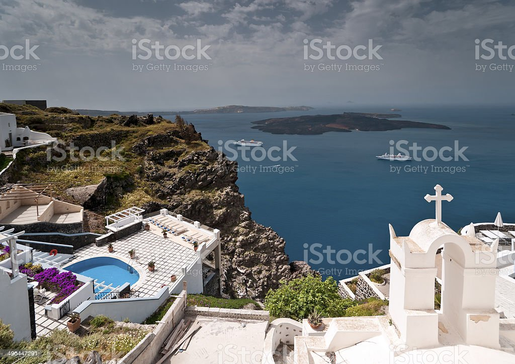 Santorini caldera view stock photo