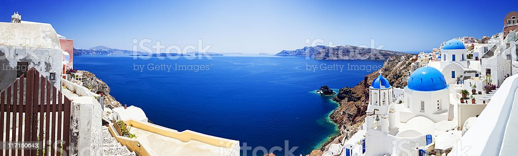 Santorini caldera with famous churches (XXXL panorama) stock photo