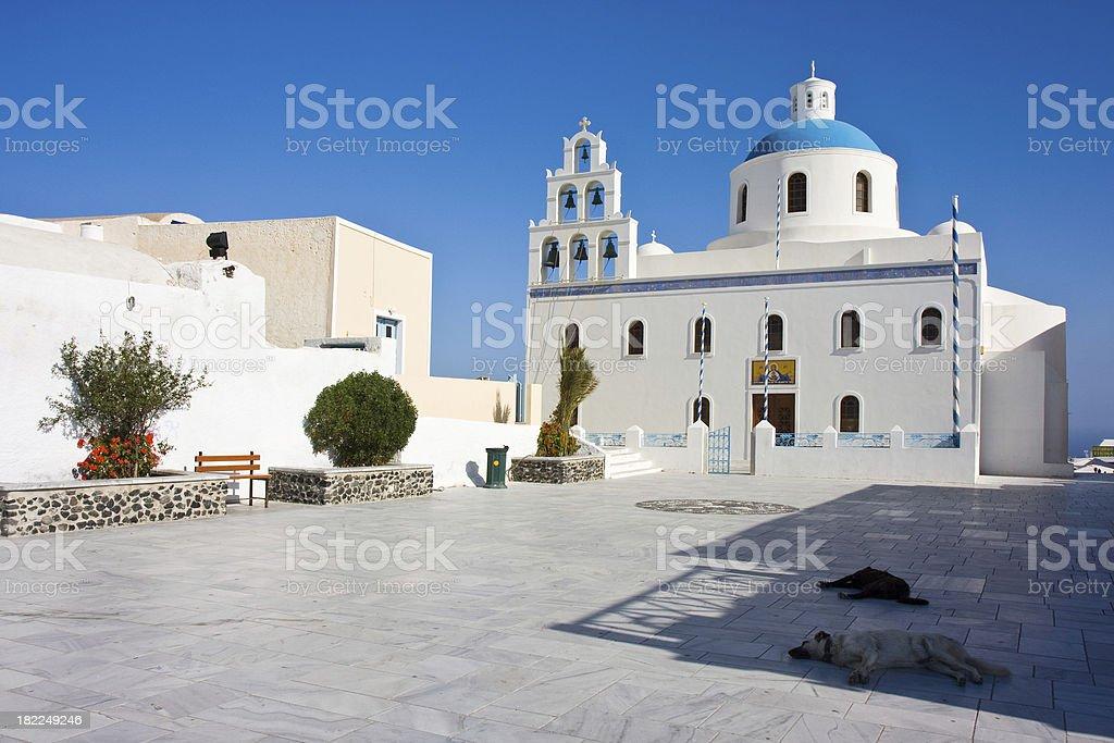 Santorini church and town center royalty-free stock photo