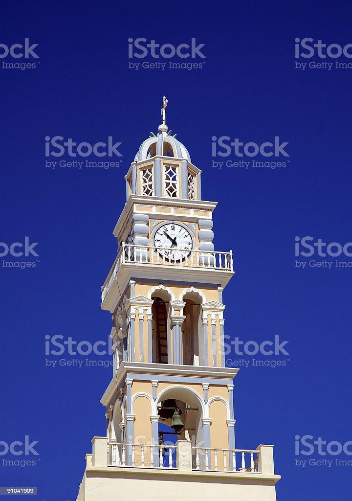 Santorini Church clock tower royalty-free stock photo