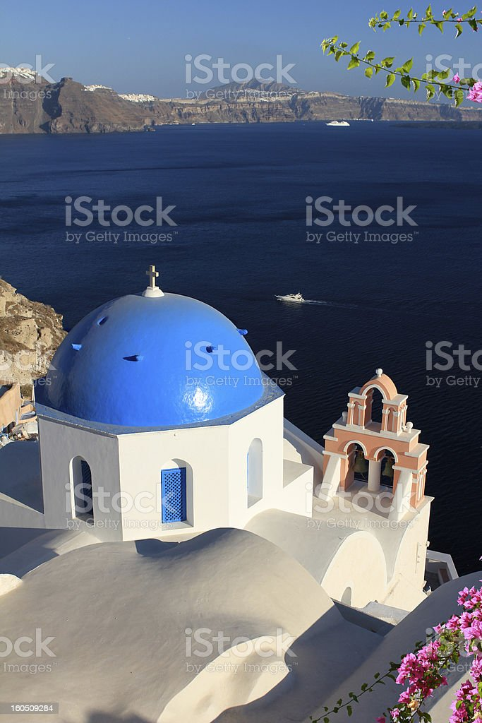 Santorini Church Dome - with flowers royalty-free stock photo