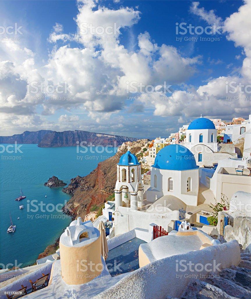 Santorini - Churches in Oia over the caldera stock photo