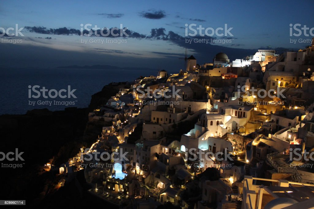 Santorini Cityscape at night in the Best Mediterranean Island of Greece stock photo