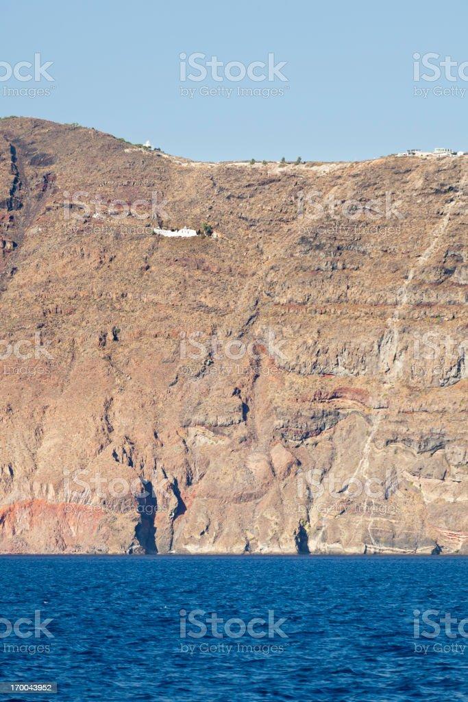 Santorini Cliffs And Chapel royalty-free stock photo