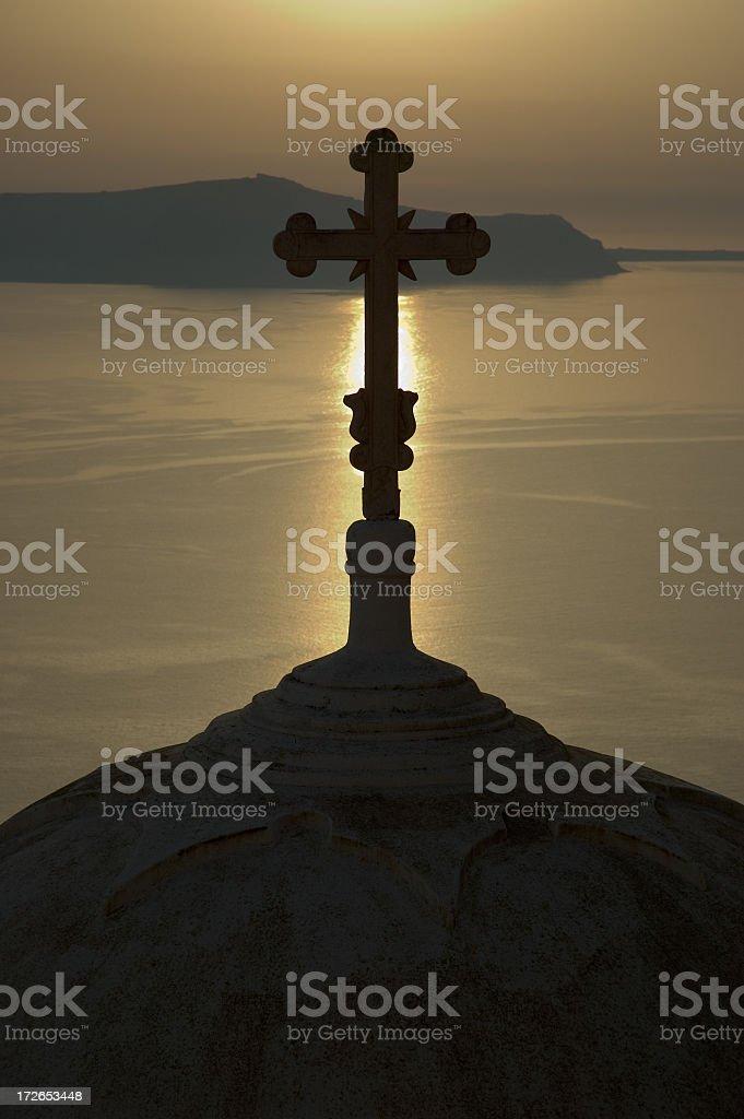 Santorini, Cross Silhouette royalty-free stock photo