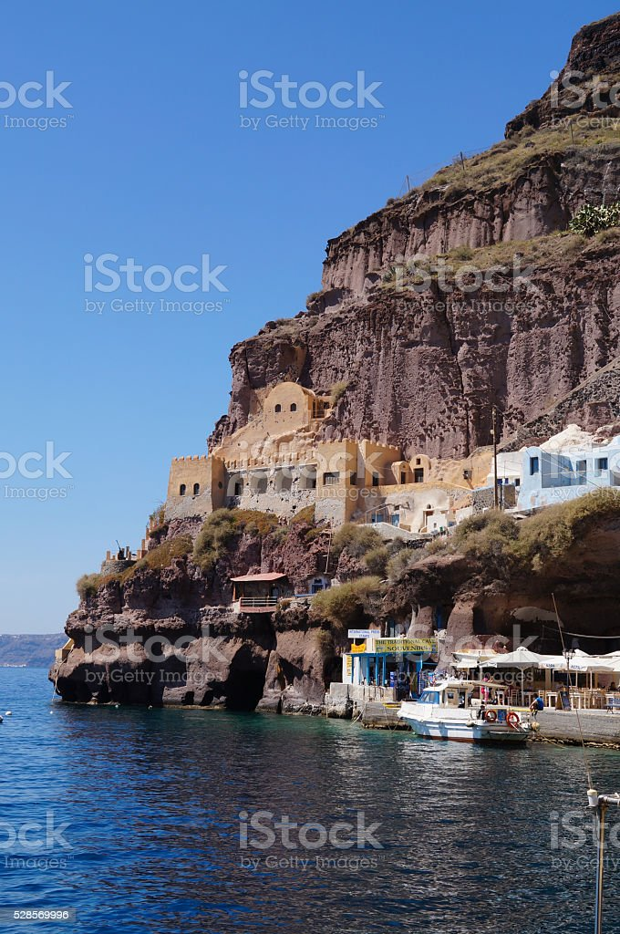 Santorini Cruise Port in Fira, the capital of Santorini. stock photo
