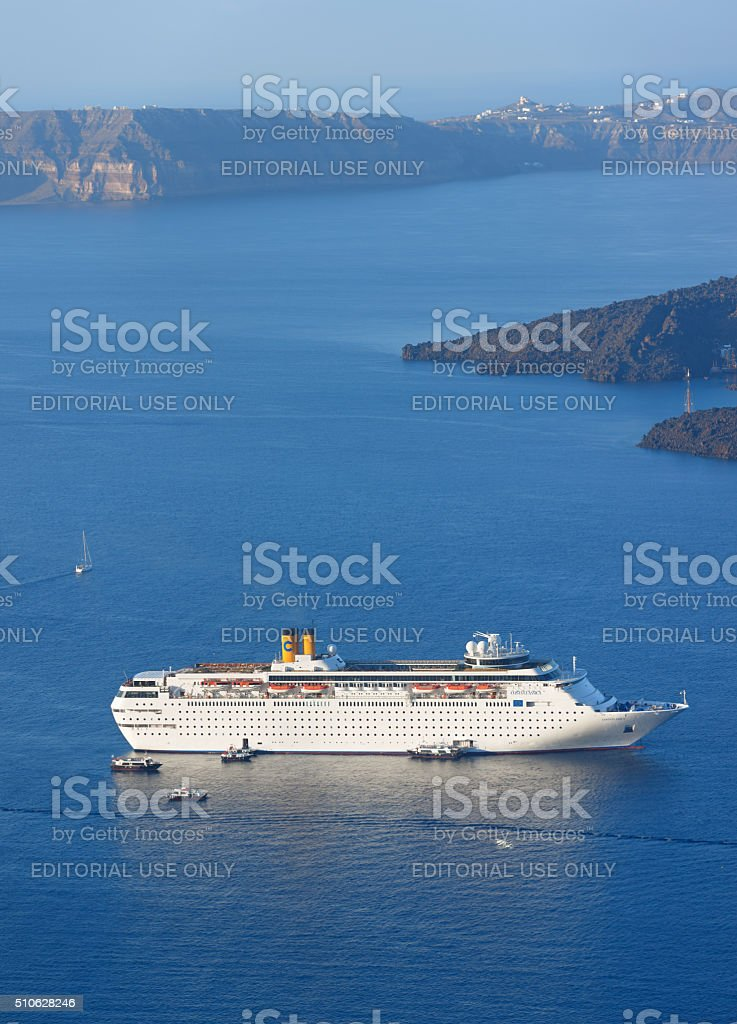 Santorini cruise ship Costa Classica stock photo