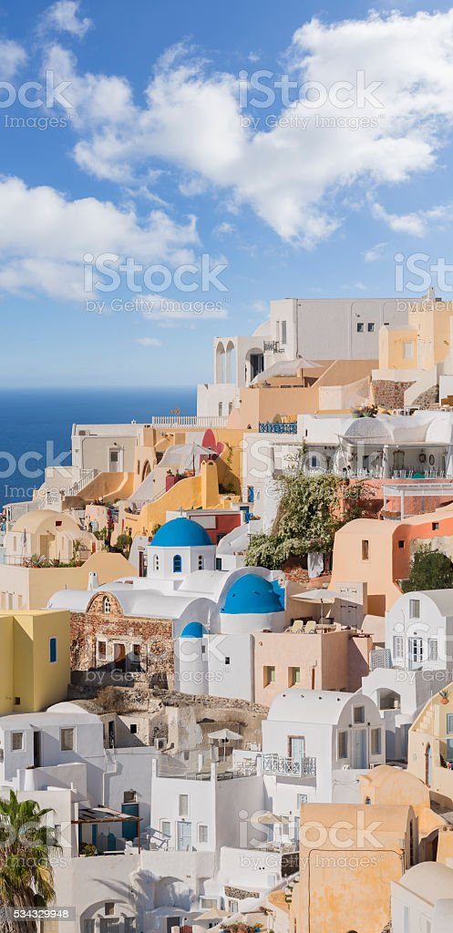 Santorini detail of village Oia on Greece at morning stock photo