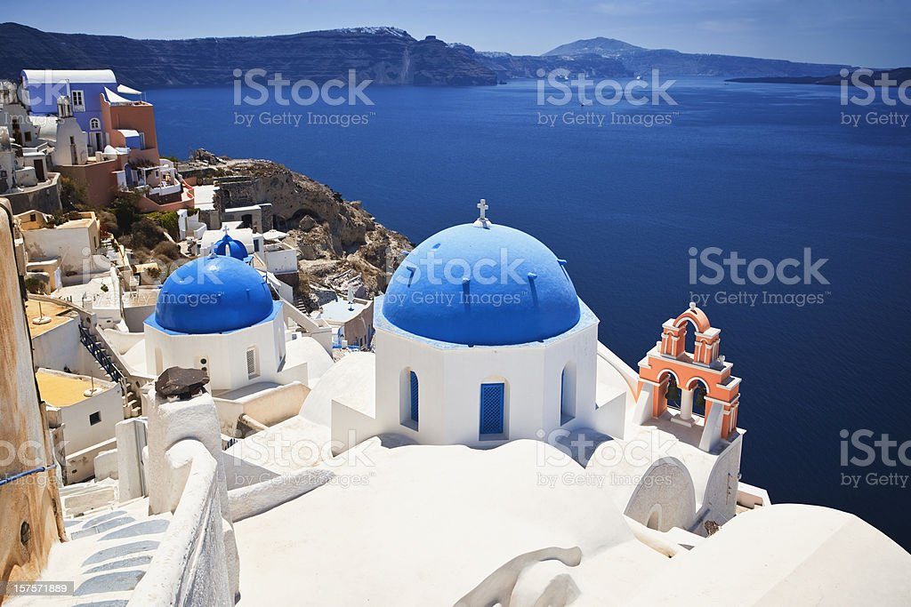 Santorini famous church stock photo