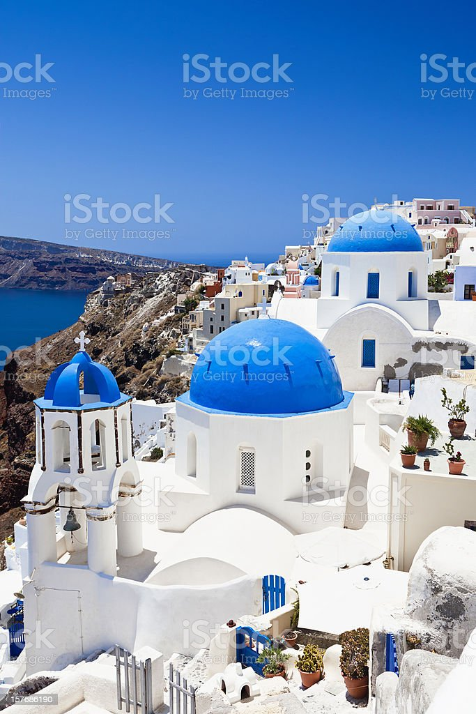 Santorini famous churches stock photo