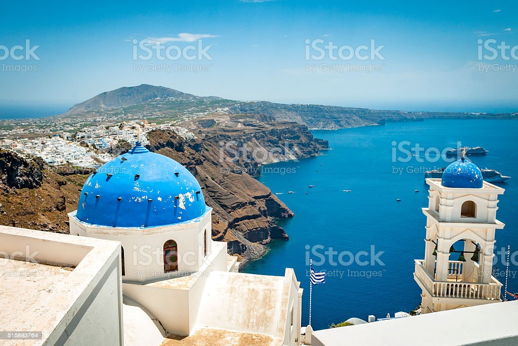 Santorini, Greece during the day stock photo