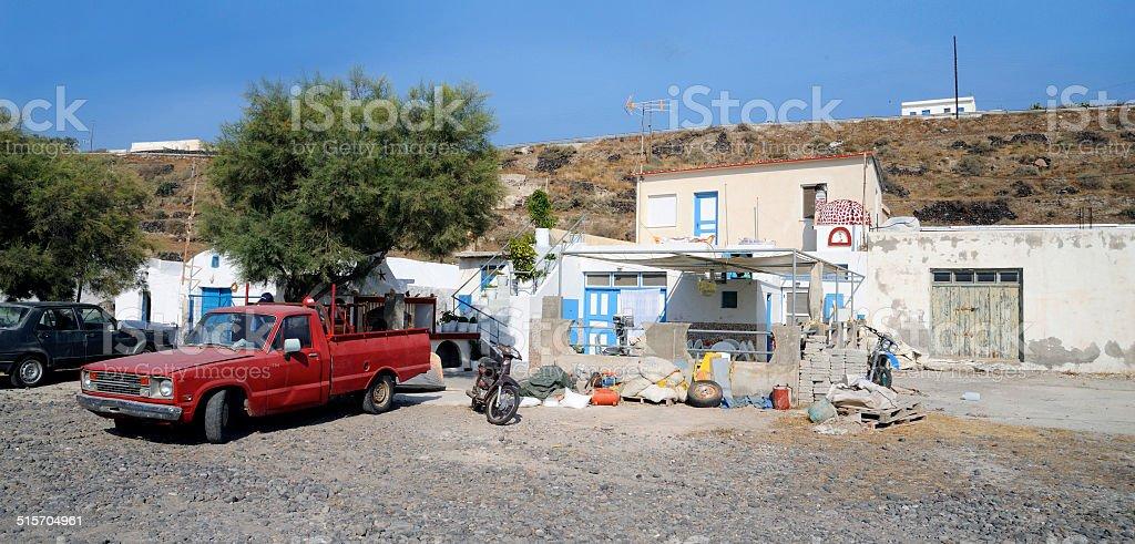 santorini - island thirasia stock photo