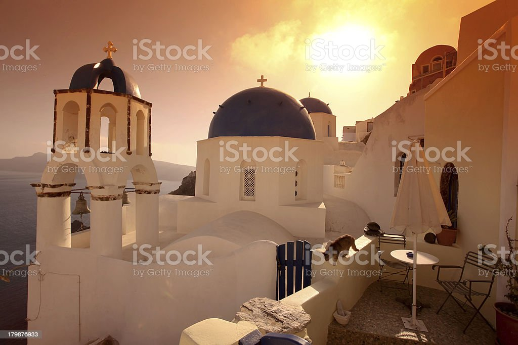 Santorini island with typical churches in Greece royalty-free stock photo