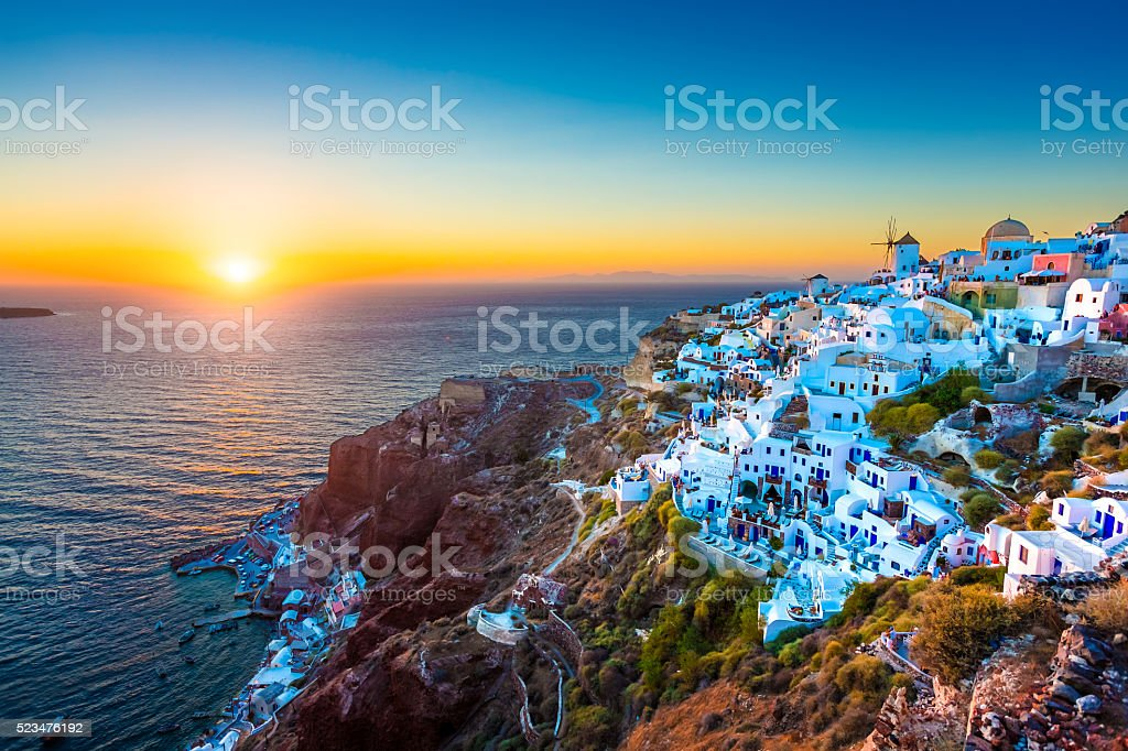 Santorini Oia village, Greece stock photo