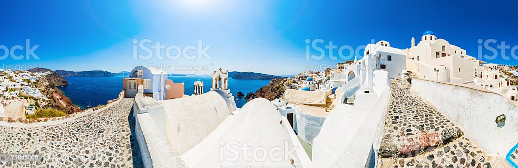 Santorini Oia village (XXXL panorama) royalty-free stock photo
