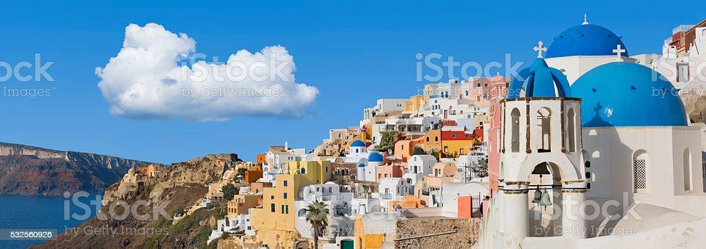 Santorini panorama in Oia on Greece stock photo