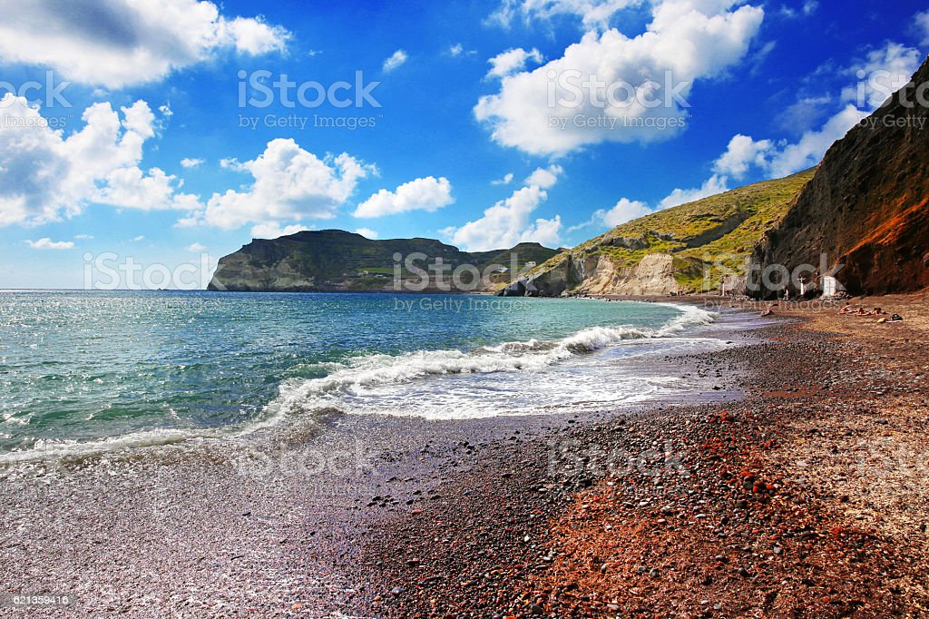 Santorini Red Beach, Greece stock photo