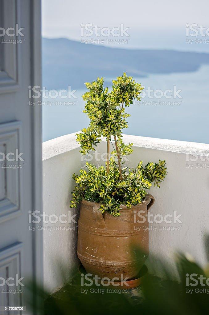 Santorini sea view from the terrace stock photo