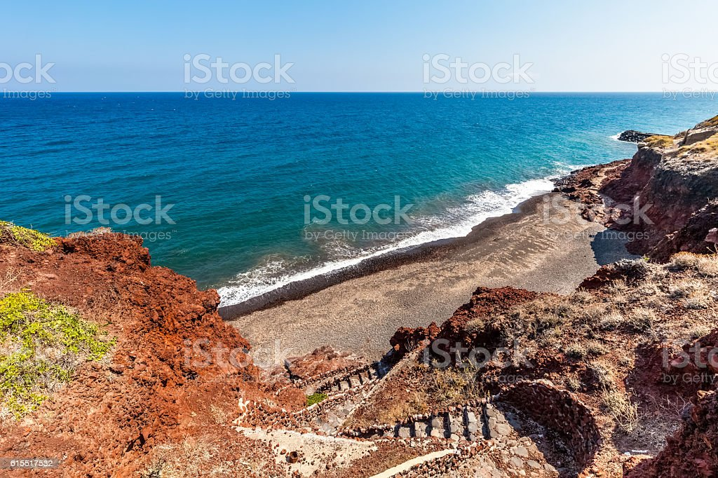 Santorini seacoast and beach view. Santorini island, Greece stock photo
