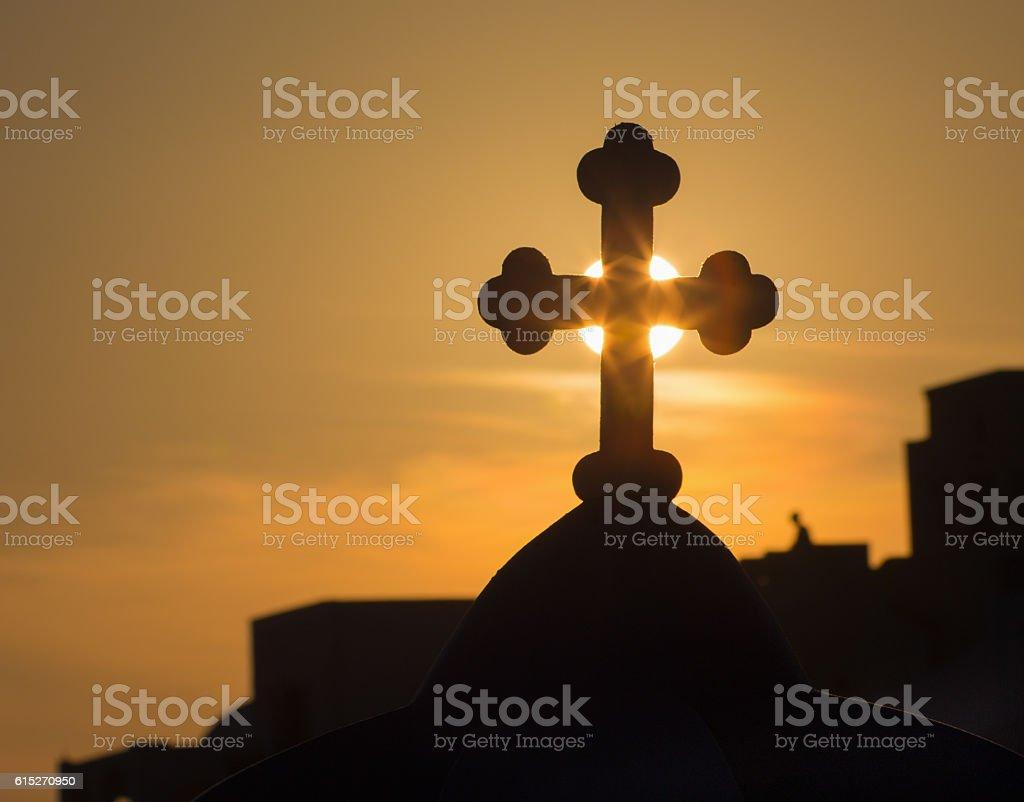 Santorini - silhouette of the cross on cupola in Oia stock photo