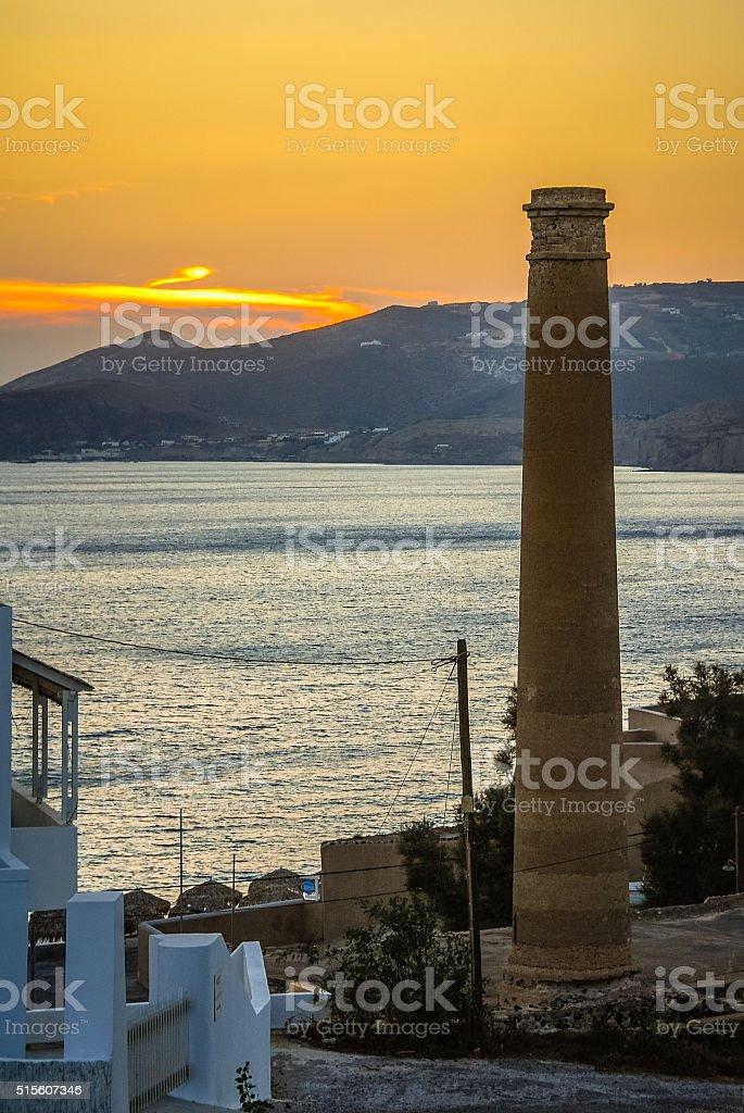 Santorini Smokestack stock photo