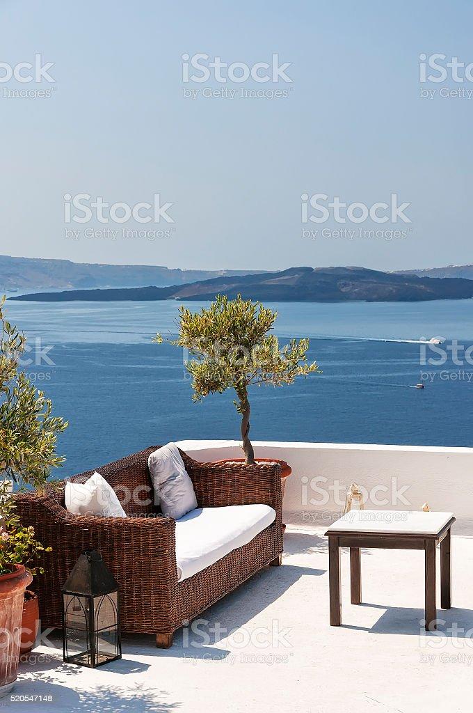 Santorini Sofa stock photo