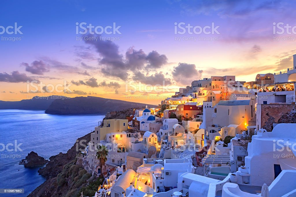 Santorini sunset at dawn village of Oia Greece stock photo