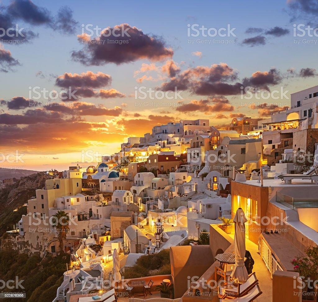 Santorini sunset at dawn village of Oia Greece stock photo