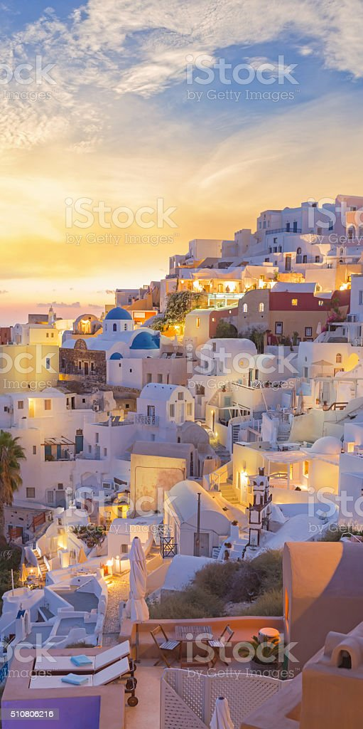 Santorini sunset at village of Oia Greece stock photo