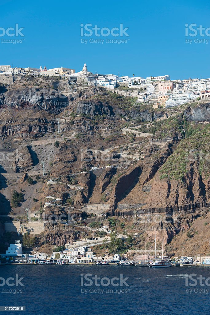 Santorini - the Climb to Thira from the Old Port stock photo