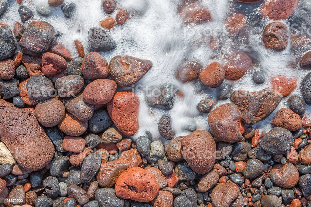 Santorini - The detail of pemza from Red beach stock photo