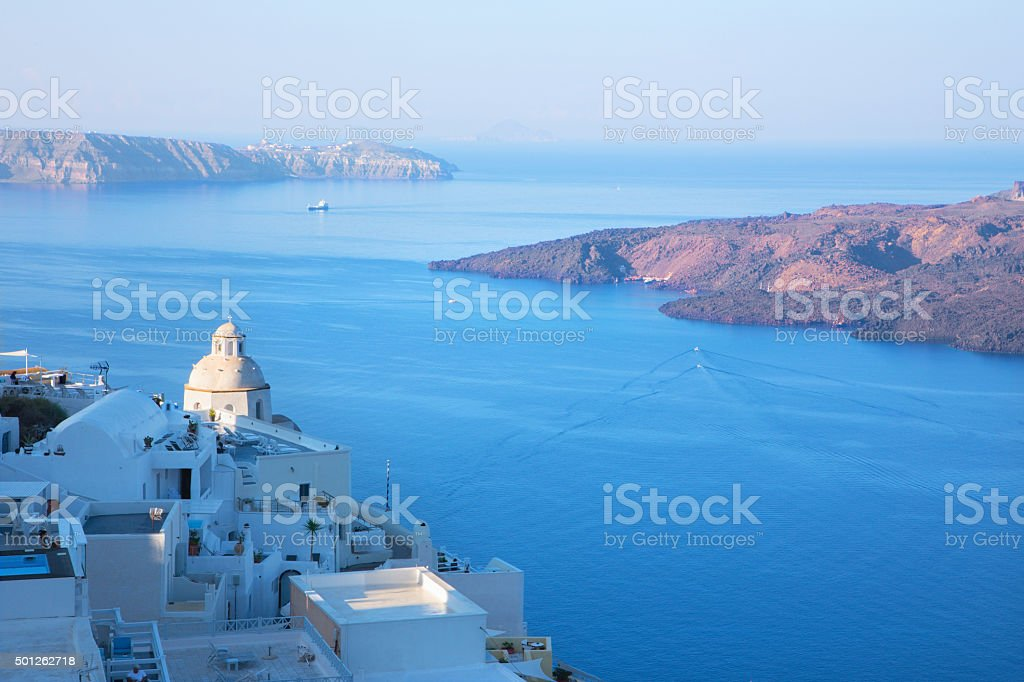 Santorini - The outlook from Fira to caldera stock photo