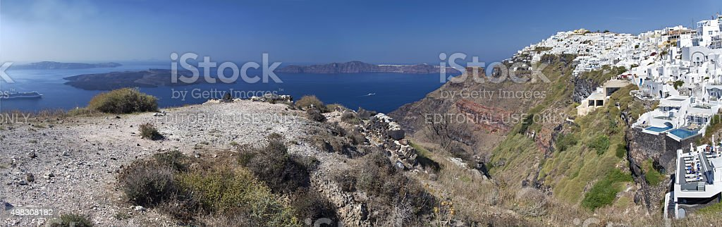 Santorini - The panorama of Imerovigli and Scaros stock photo