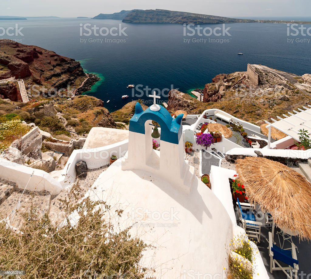 Santorini view with church stock photo